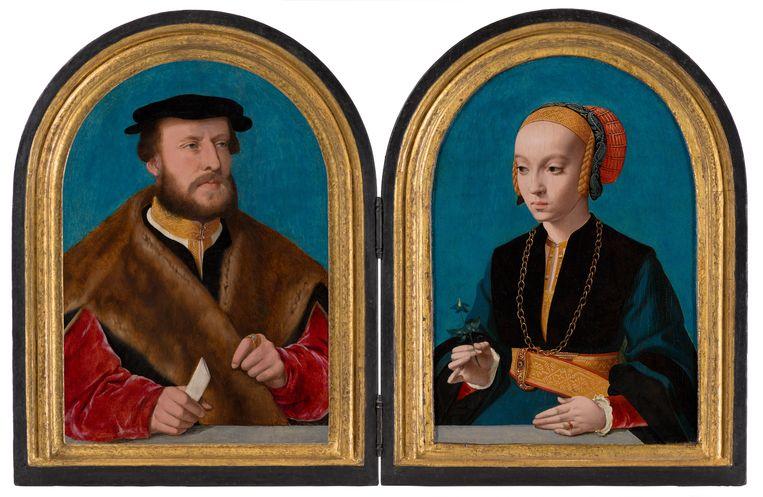 Bartholomäus Bruyn de Oude, 'Portret van Jakob Omphalius' en 'Portret van Elisabeth Bellinghausen' (1538/39) Beeld Margareta Svensson
