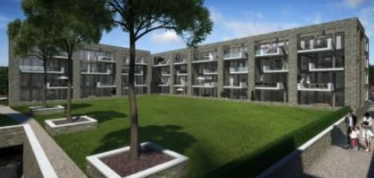 Artist impression Heilig Harthof, het appartementencomplex dat achter de Heilig Hartkerk gebouwd zal worden. Bron: Website Van de Sande Makelaars