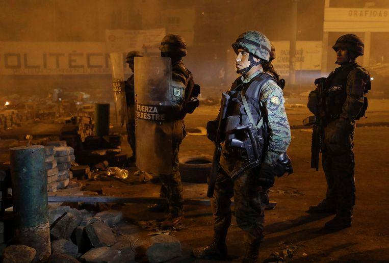 Soldaten op straat in Quito  (12.10.2019).