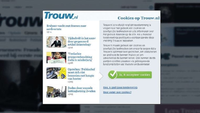 Steeds meer sites waaronder Trouw.nl verplichten bezoekers cookies te accepteren Beeld