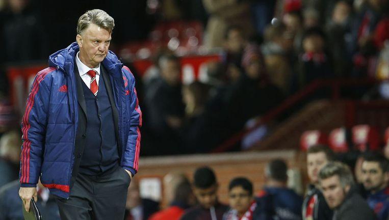 Louis van Gaal tijdens de wedstrijd tegen West Ham United. Beeld photo_news