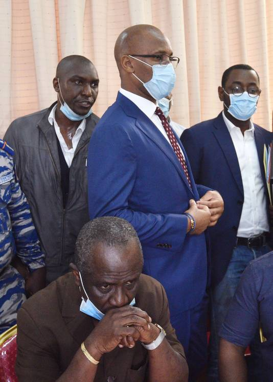 Didier Drogba vandaag op het hoofdkantoor van de Ivoriaanse voetbalbond in Treicheville, Abidjan.