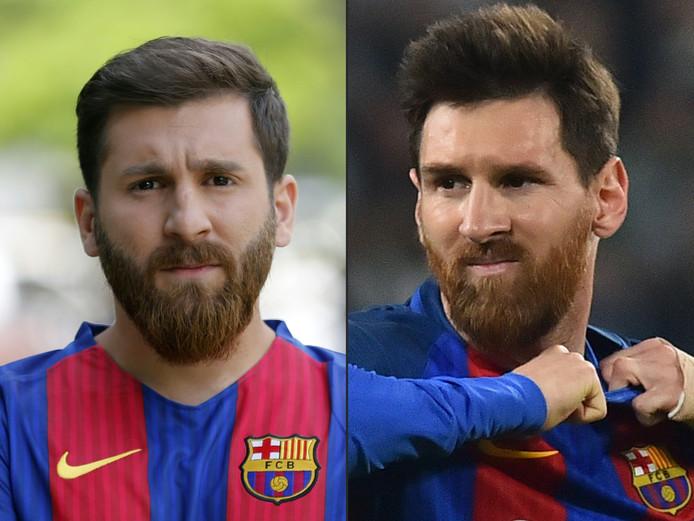 Reza Parastesh (links) als lookalike, rechts de echte Lionel Messi.