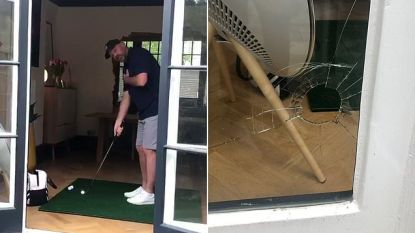 Voormalig Ryder Cup-kapitein probeert golfbal door deuropening te meppen, maar hij slaat eigen ruit aan diggelen