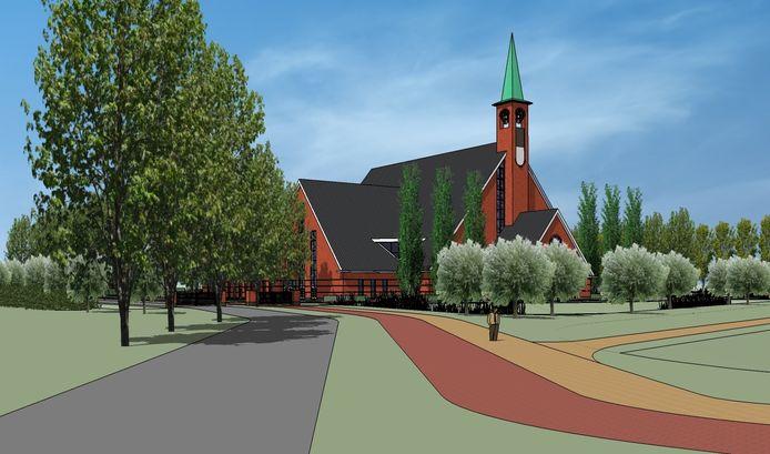 Het ontwerp van de nieuwe kerk van de Gereformeerde Gemeente in Yerseke.