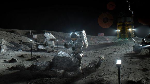 Wordt deze illustratie in 2024 werkelijkheid? De NASA hoopt in elk geval, in samenwerking met een aantal commerciële partners, na meer dan 50 jaar opnieuw mensen op de maan te kunnen brengen.