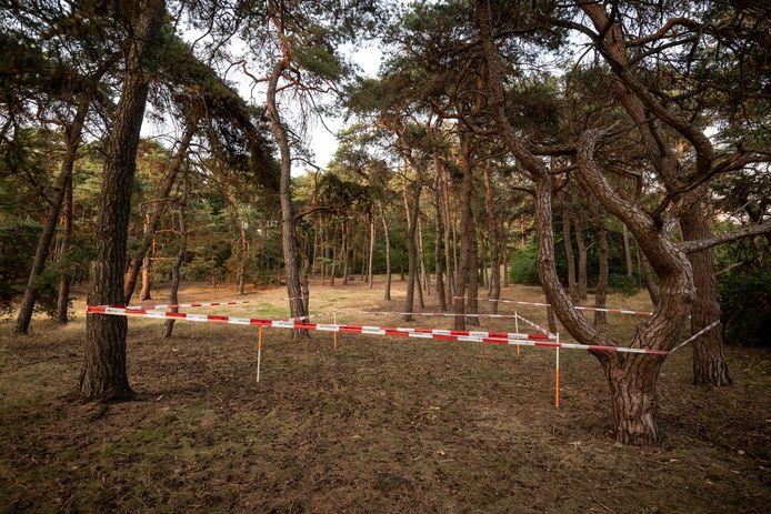 Beelden van de schouw op de Brunssummerheide. Op de omheinde plek stond de tent waar Nicky verbleef.