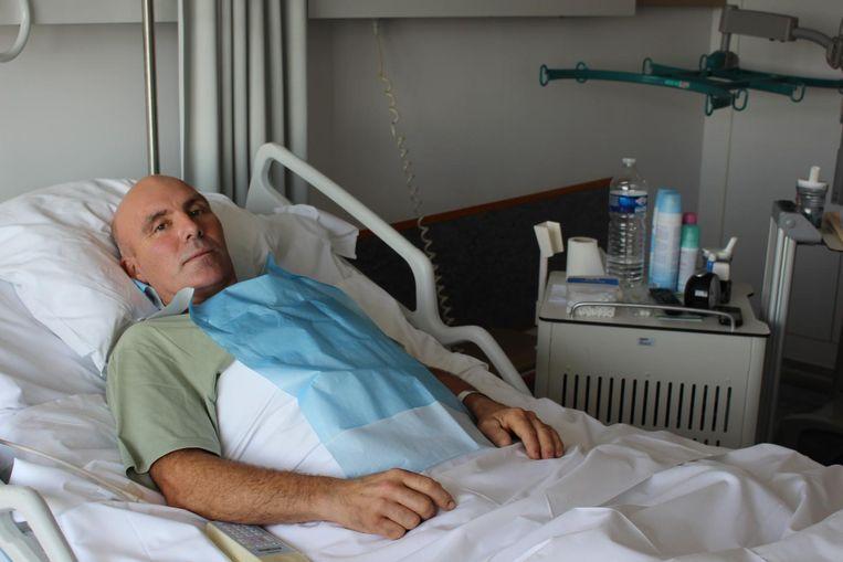 Thierry, twee jaar geleden, in het ziekenhuis.