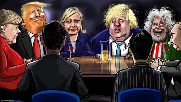 De top van volgend jaar? Met vlnr Merkel, Trump, Le Pen, Johnson, Grillo, Poetin en de premiers van China en Japan.