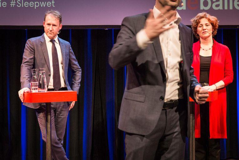 GroenLinks-Kamerlid Kathalijne Buitenweg: 'De heer Verhoeven is net een kleine jongeman die graag een sticker wil.' Beeld Dingena Mol