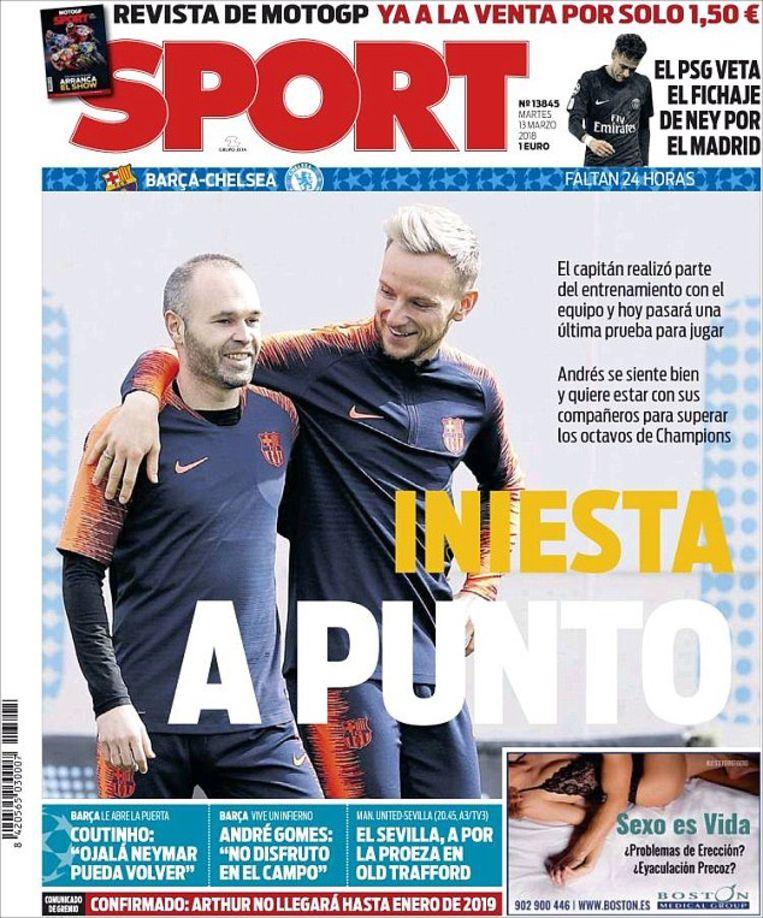 De cover van het Catalaanse 'Sport', met quotes van Coutinho over een mogelijke terugkeer van Neymar naar FC Barcelona, maar ook met het gerucht rond de transfer naar Real.