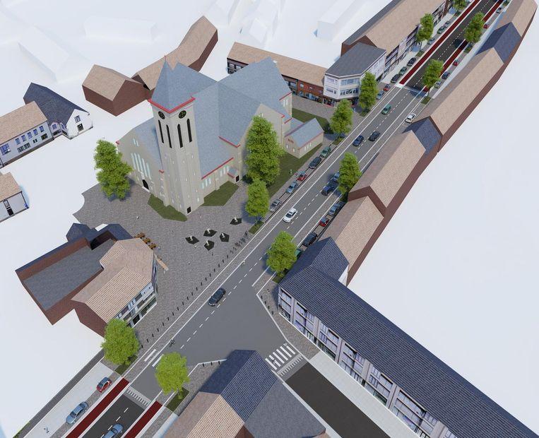 Het kruispunt van de Hoog- en Stationsstraat krijgt volgende week al een verhoogd plateau. In 2019 komt er aan de kerk dan een plein met waterpartijen.