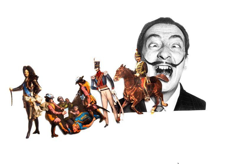 Wikipedia-zoektermen: Van Louis XIV - Dragonnades - Dragonders - Huzaren(snor) - naar Dalí.  Beeld Getty - bewerking Studio V