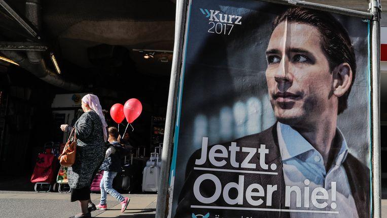 Een affiche van Sebastian Kurz, leider van de ÖVP.