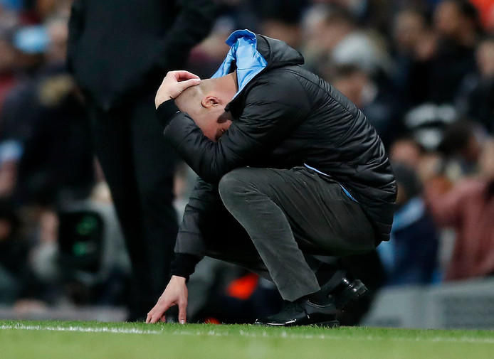 Manchester City manager Pep Guardiola reacts during the Carabao Cup Semi Final, second leg match at the Etihad Stadium, Manchester. ! only BELGIUM !