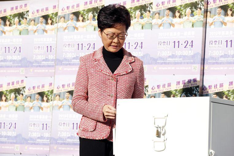 De leider van Hongkong, Carrie Lam.