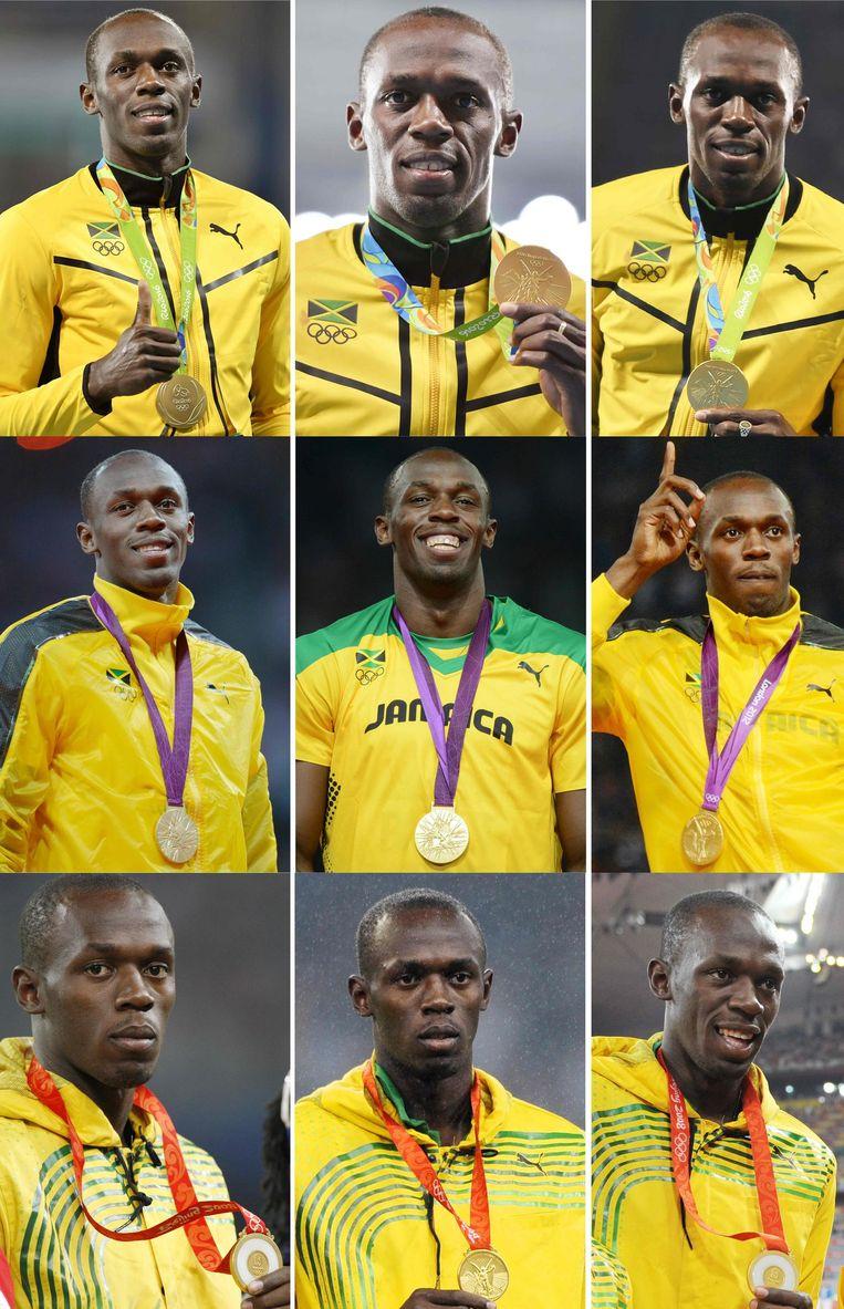 Alle negen Olympische medailles. Beeld afp