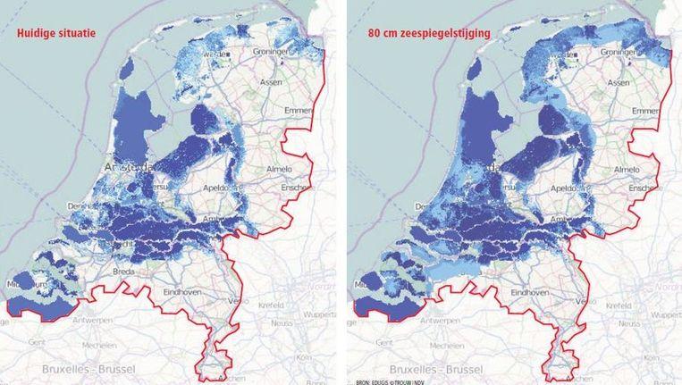 Overstromingsrisico: hoe donkerder blauw hoe dieper het water Beeld Trouw: NDV | Bron: Edugis