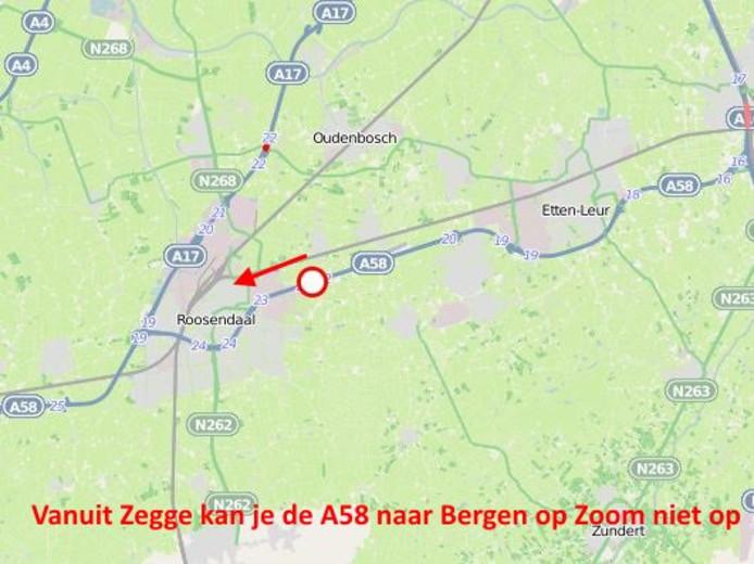 Vrachtwagen met pech op toerit richting Bergen op Zoom.