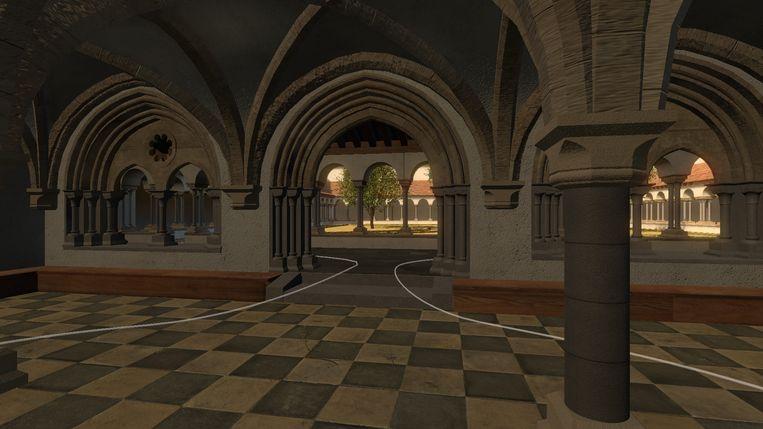 Een beeld binnen in de abdij.