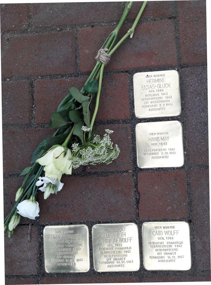 Struikelstenen voor de vijf Joodse slachtoffers van de Holocaust die in villa Beuken Rode aan de George Perklaan in Oisterwijk woonden.