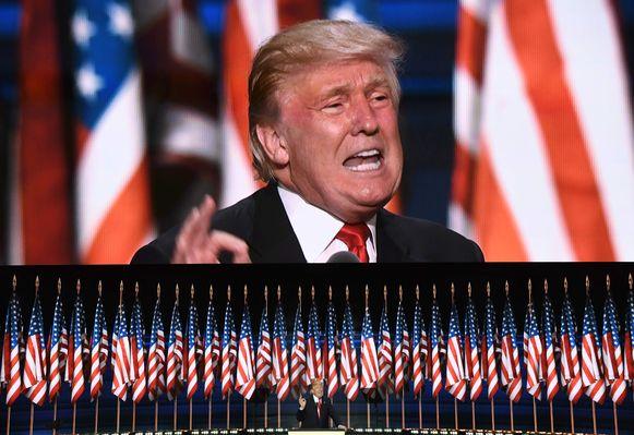 Archiefbeeld. Toenmalig presidentskandidaat Donald Trump tijdens de Republikeinse conventie in Cleveland, Ohio. (21/07/2016)