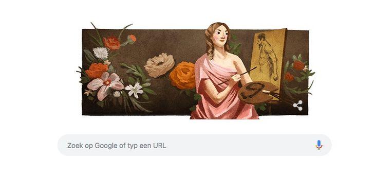 De doodle van Michaelina Wautier op de Belgische homepage van Google.