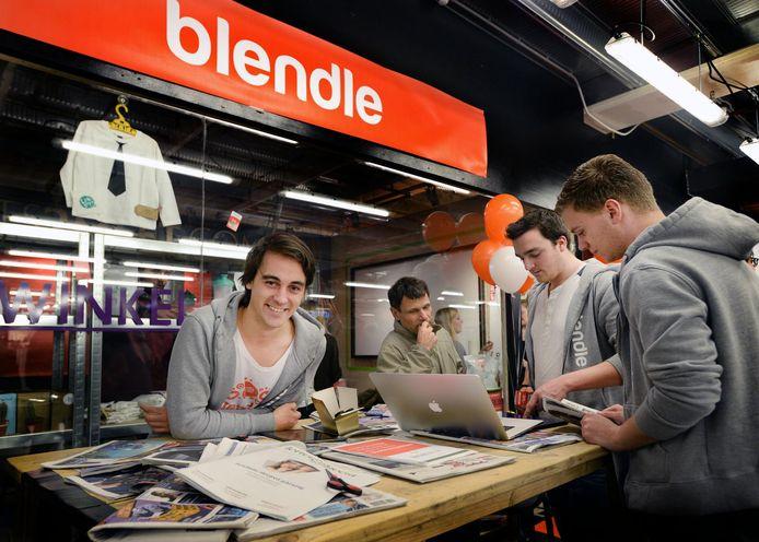 Blendle-ceo Alexander Klöpping tijdens de opening van een pop-up-store in winkelcentrum Hoog Catherijne.