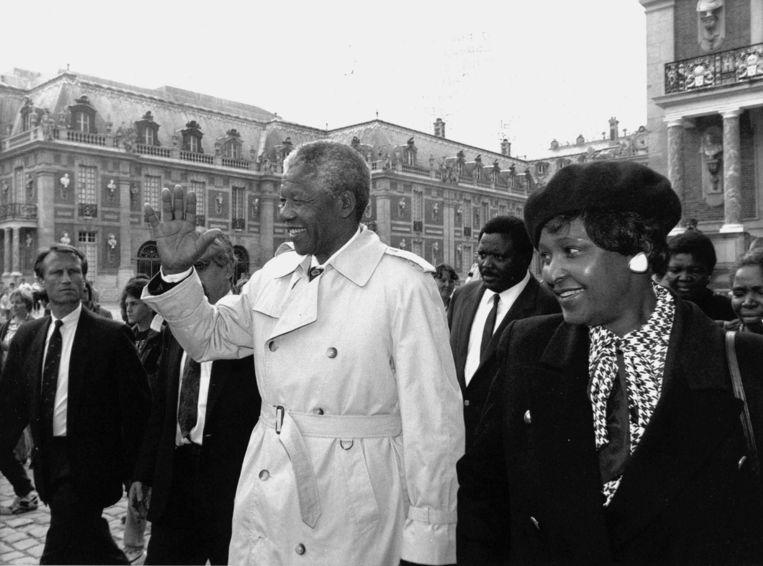 Nelson Mandela en Winnie Mandela in Frankrijk, 1991 Beeld ANP