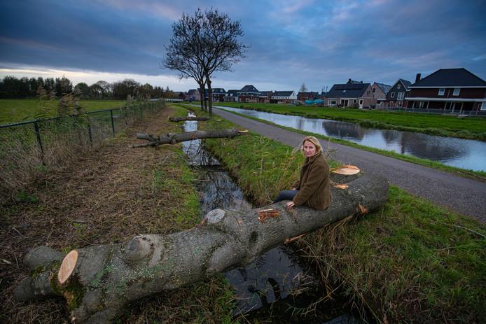 Elise van Heck (foto) en haar man Obbe Deelstra zijn boos over de kap van 77 essen aan de Trekvaart.