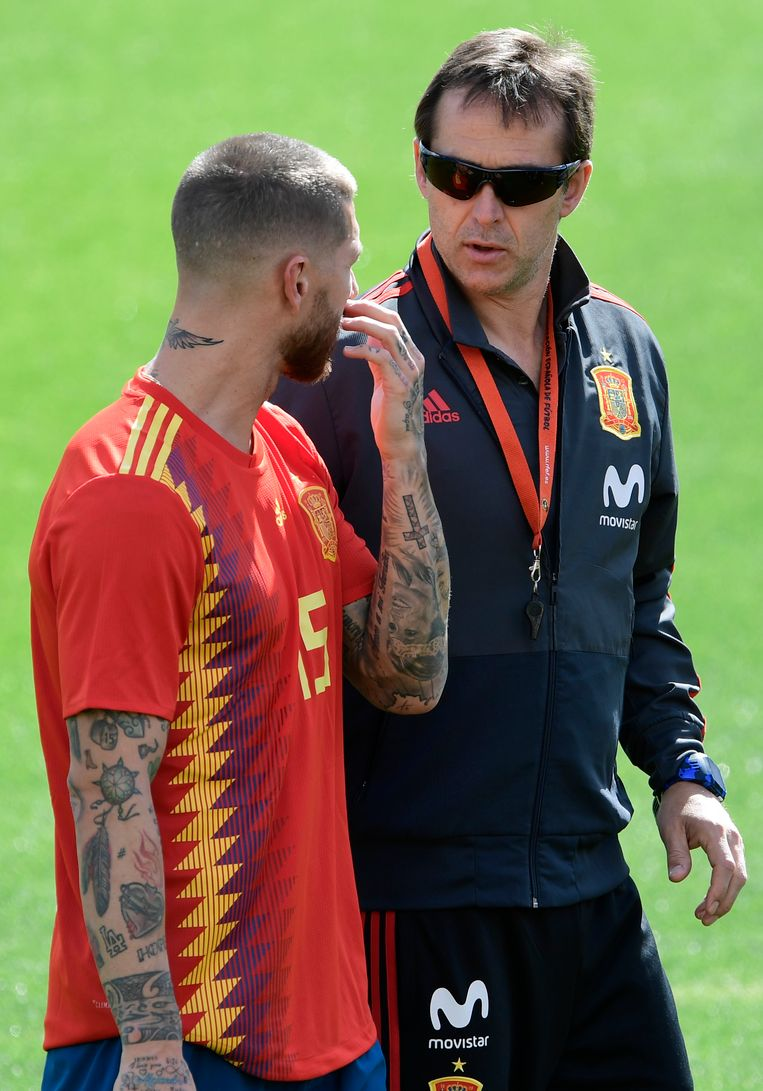Sergio Ramos eerder deze week in bespreking met Julen Lopetegui. Over Spanje of Real Madrid?