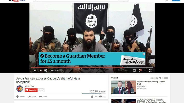 Reclame voor the Guardian in een IS-video Beeld Youtube