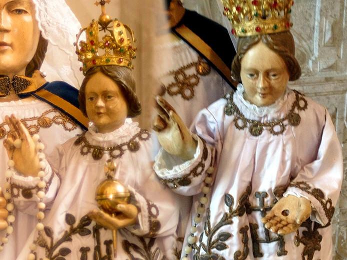 Christus' appel in / uit de hand van kindje Jezus uit de kerk in Bergen op Zoom