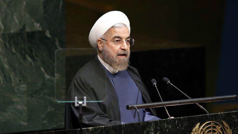 De Iraanse president Hassan Rouhani spreekt voor de Algemene Vergadering van de Verenigde Naties. Beeld ap