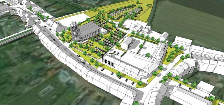 Dit is hoe het centrum er zal uitzien. De dorpskern zal er veel groener uitzien.