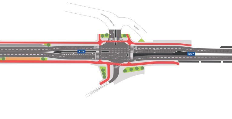 Een plannetje van de toekomstige Frans De Schutterlaan, met vrije busbanen en dubbelrichtingsfietspaden.