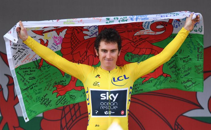 Thomas als winnaar van de Tour de France.