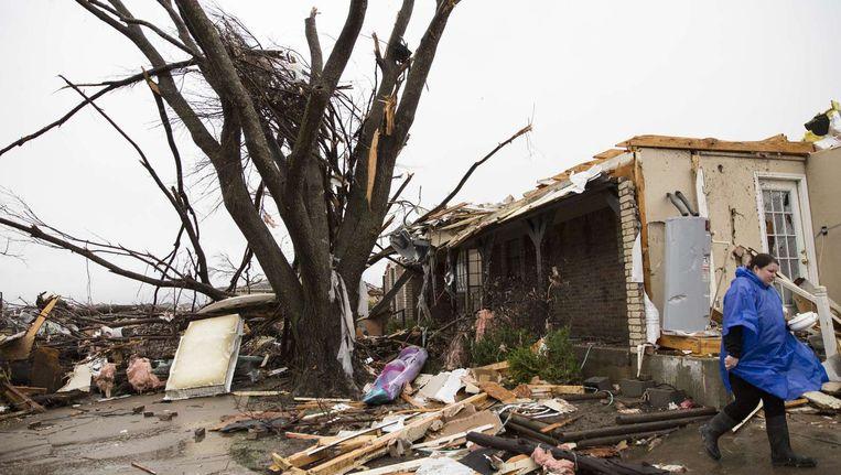 Een door tornado's verwoest huis bij Dallas, Texas. Beeld afp