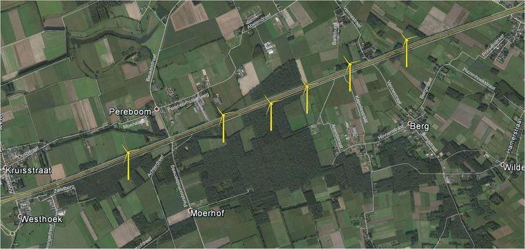 De huidige windturbines langs de E34.