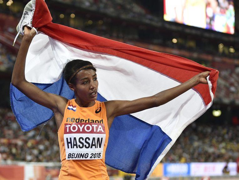 Sifan Hassan is niet blij met haar derde plaats. Beeld epa