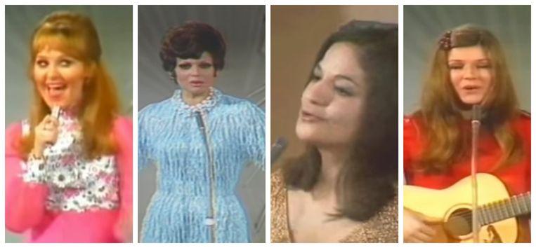 De vier winnaressen: Lulu, Salomé, Frida Boccara en Lenny Kuhr