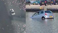 Bestuurder rijdt auto in kanaal, gaat op dak zitten en inhaleert lachgas
