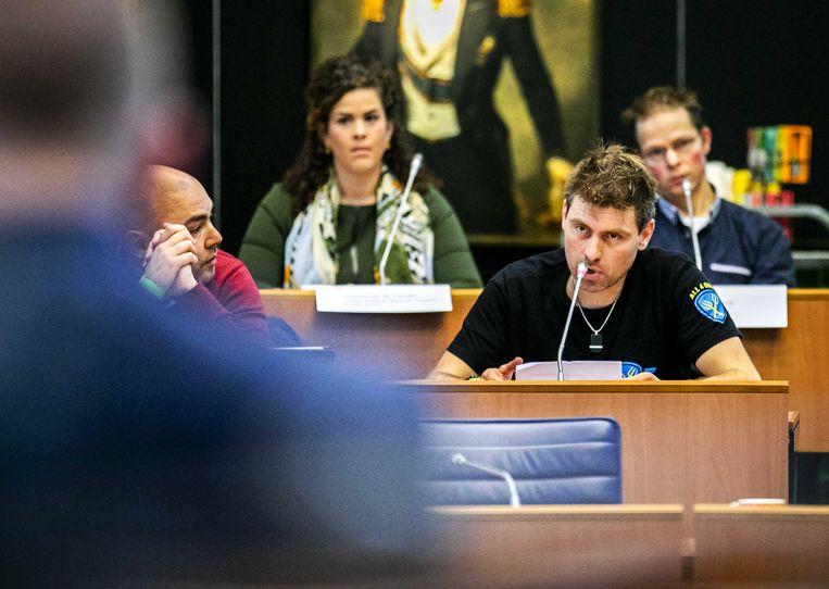 Mark van den Oever spreekt tijdens de inspraakronde voorafgaand aan een Statendebat in Den Bosch over de landbouw.  Beeld ANP