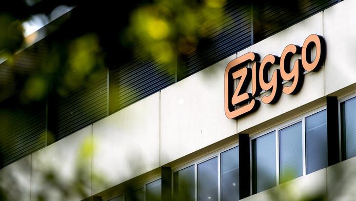 ogo van Ziggo op de gevel van het hoofdkantoor van de TV, internet en telefonieprovider.