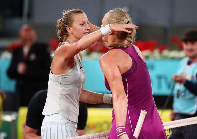 Bertens moest in de finale maar meerdere erkennen in Petra Kvitova (links) Beeld Getty Images