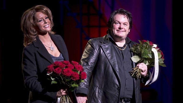 Chantal Janzen (L) als Rachel Hazes en Martijn Fischer als Andre Hazes in de musical Hij gelooft in mij. Beeld null