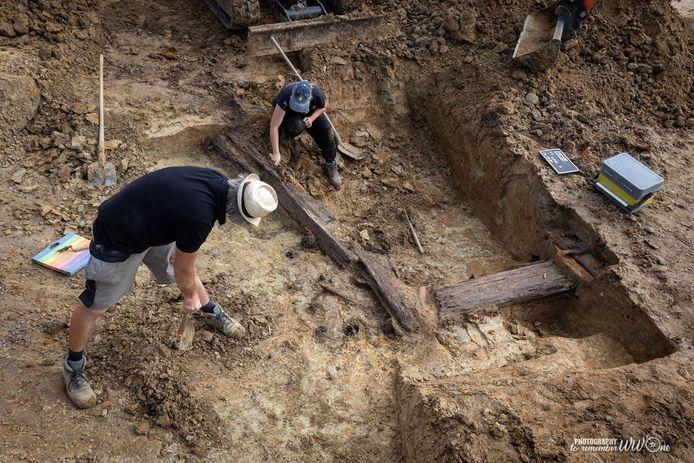 Bij de opgravingen werd 100 meter aan Duitse loopgraven blootgelegd.