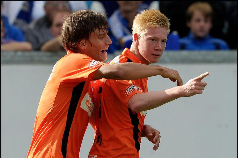 Jelle Vossen en Kevin De Bruyne tijdens de match tegen Gent. (2010)