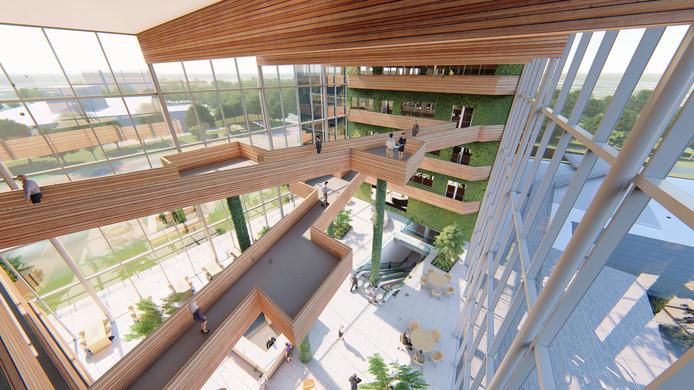 Een impressie van het atrium dat de gebouwen van de Bond Towers met elkaar moet verbinden.