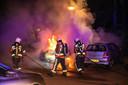 Autobrand aan de Plaswijckweg in Gouda.